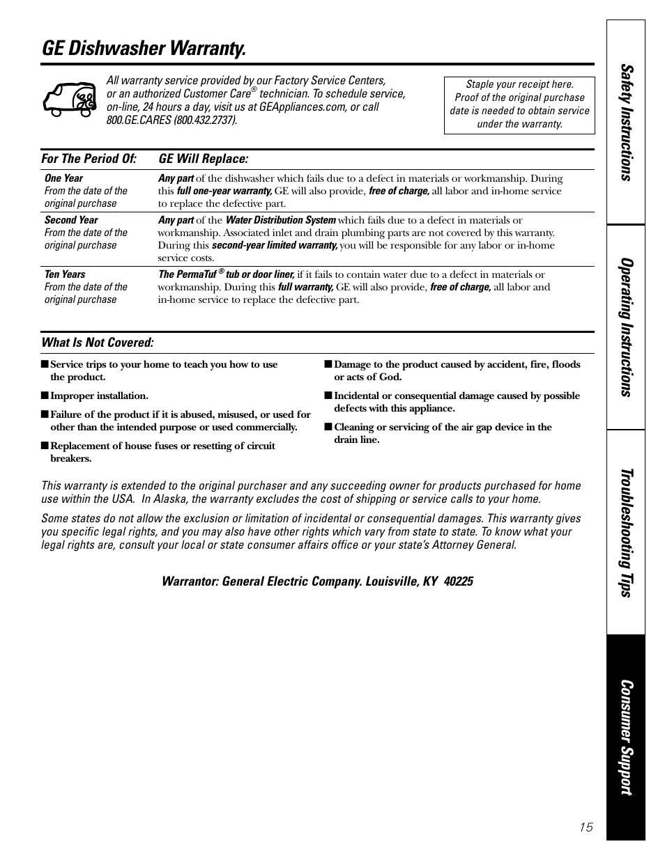 Warranty Ge Dishwasher Edw1500 User Manual