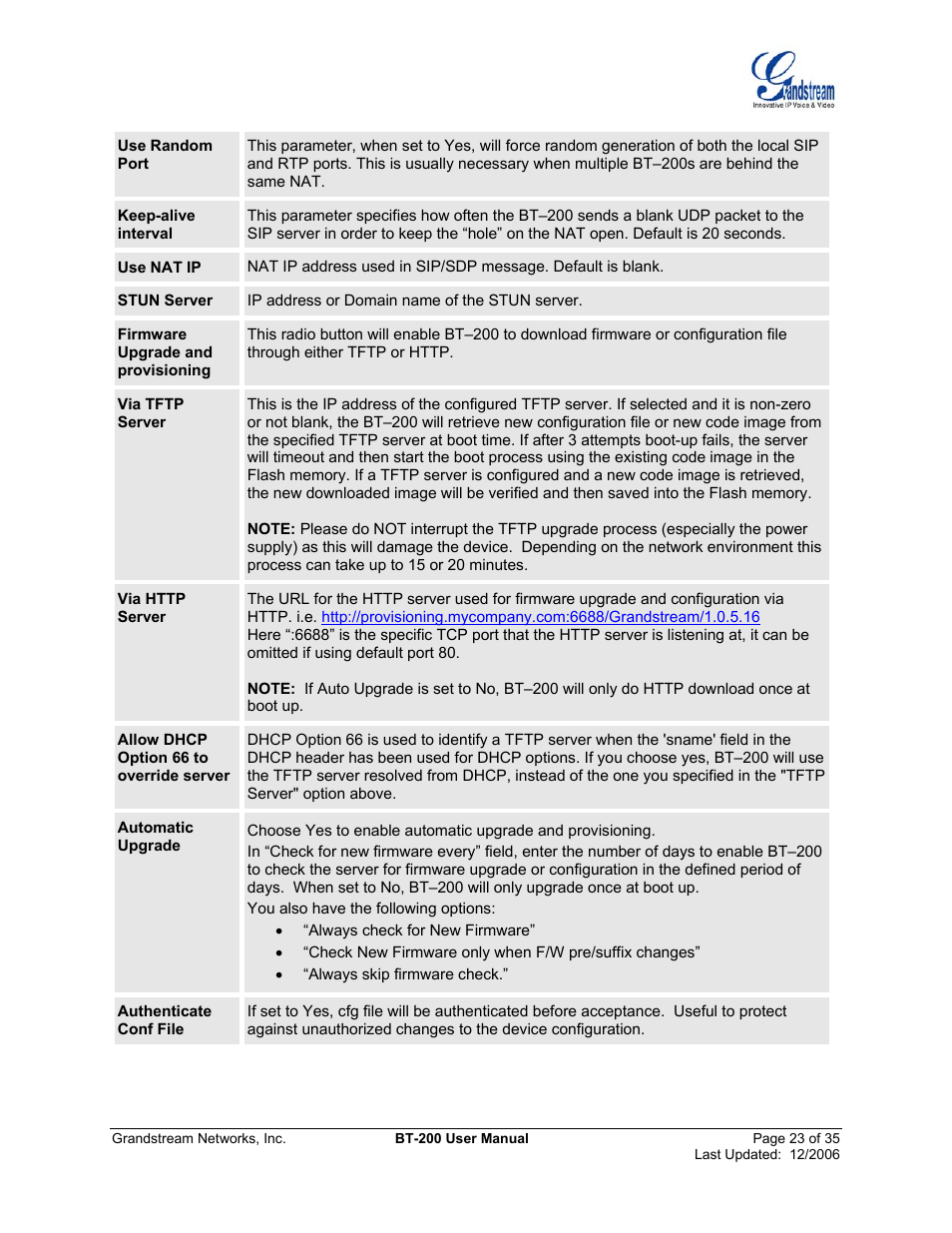 Grandstream Networks BT200 User Manual | Page 23 / 35