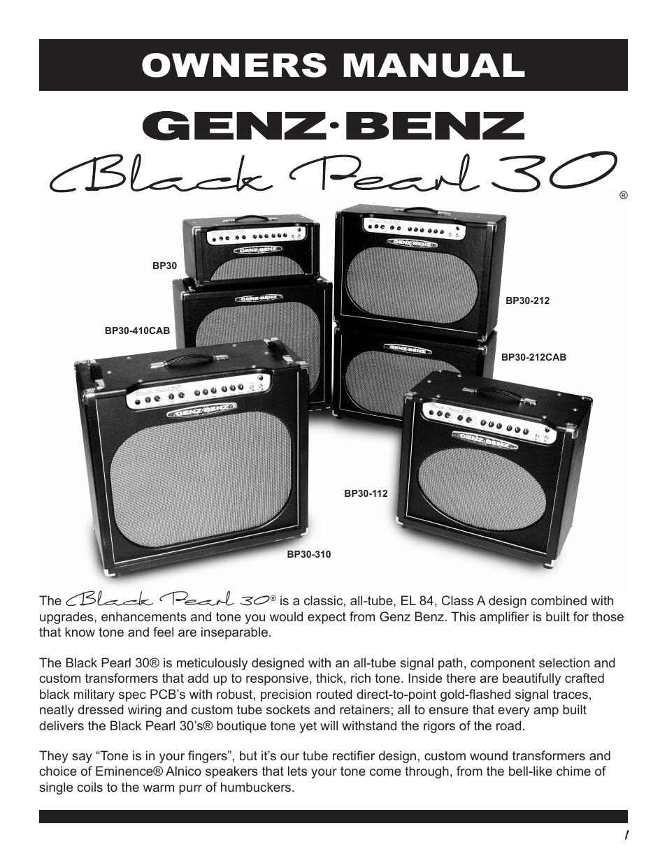 Genz Benz Black Pearl 30 Bp30 User Manual 8 Pages Also