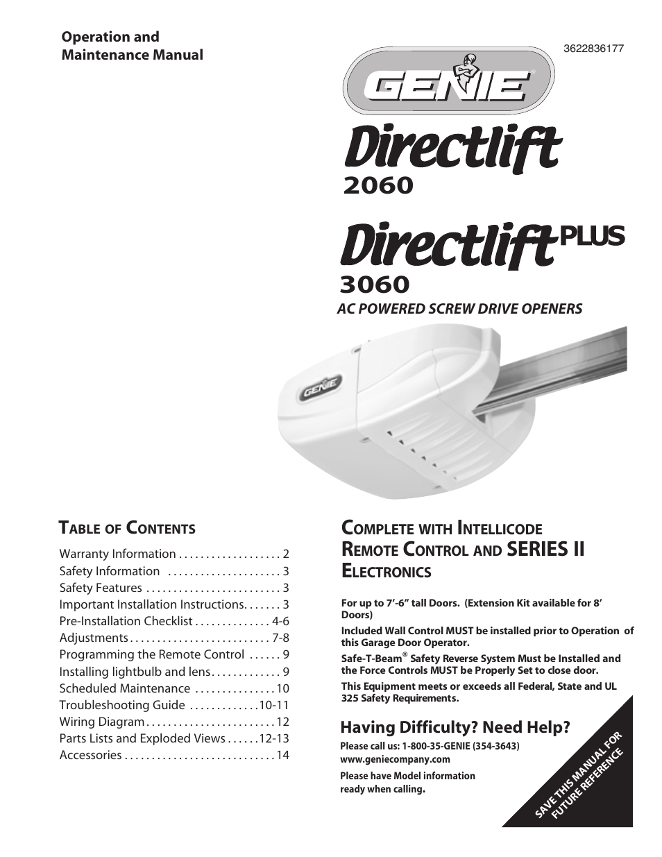Genie Directlift 3060 User Manual 14 Pages Also For