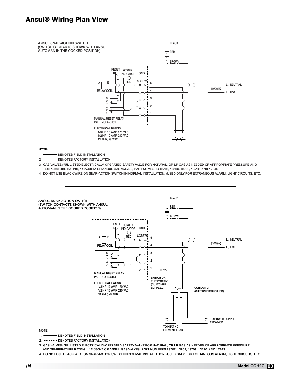 Ansul® wiring plan view | Greenheck Fan Grease Grabber H2O Auto-Cleaning  Hood GGH20 User Manual | Page 23 / 28