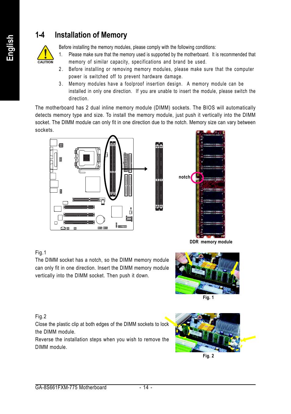 English | GIGABYTE GA-8S661FXM-775 User Manual | Page 14 / 88