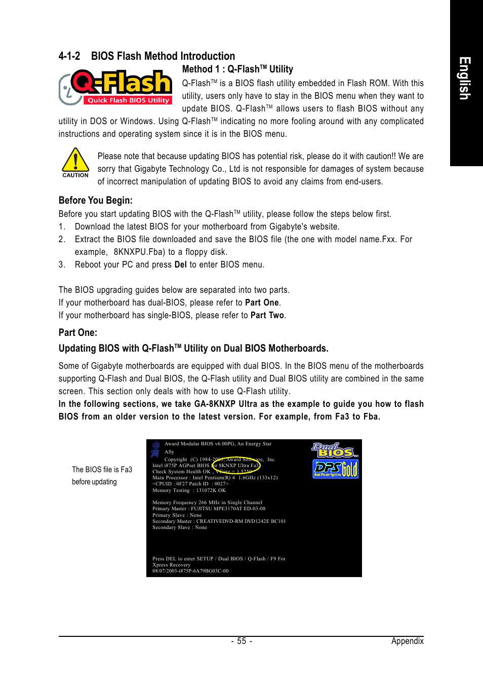 English, 1-2 bios flash method introduction, Method 1 : q