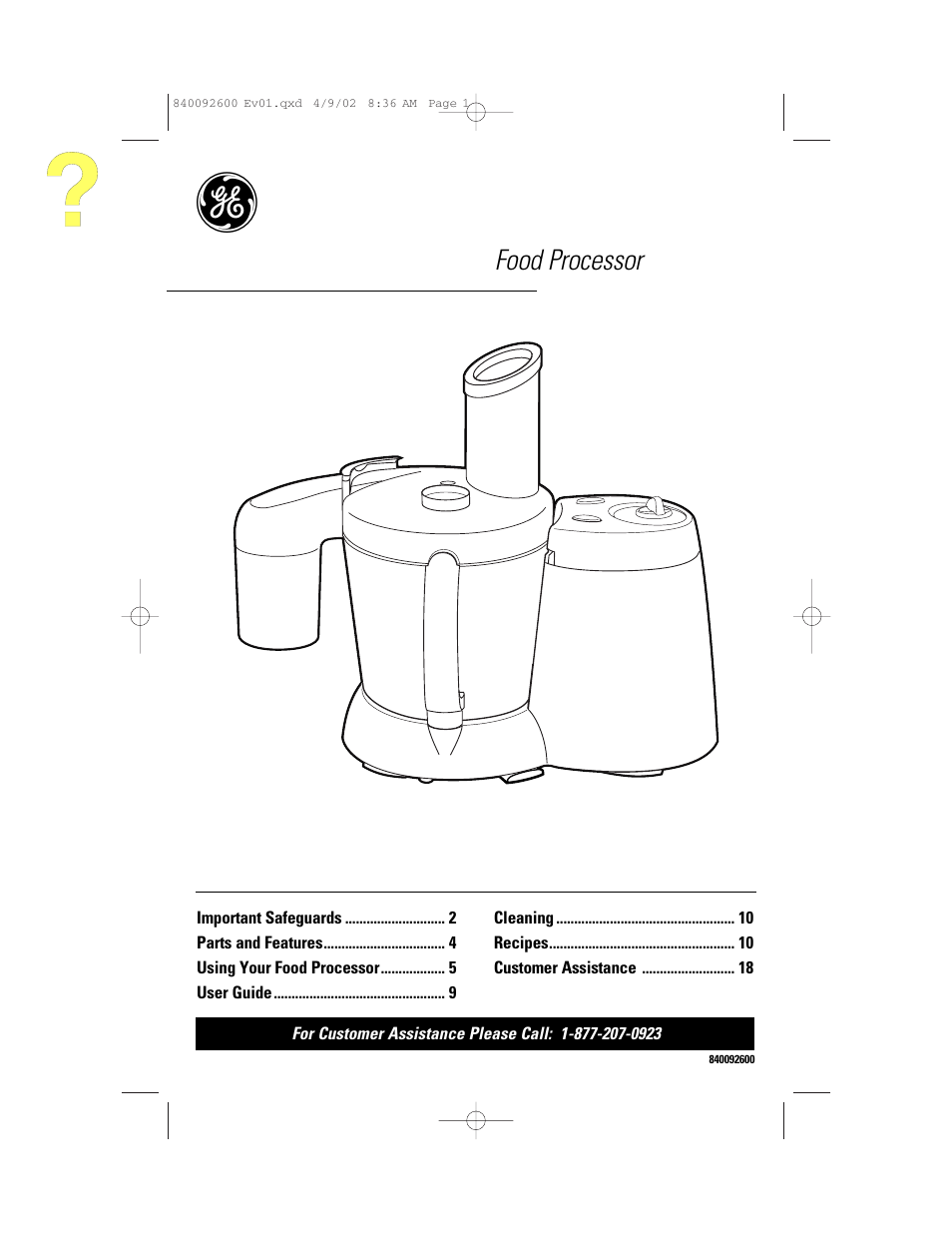 ge 840092600 user manual 36 pages also for 106740 rh manualsdir com Viking Food Processor Replacement Parts GE Variable Speed Food Processor