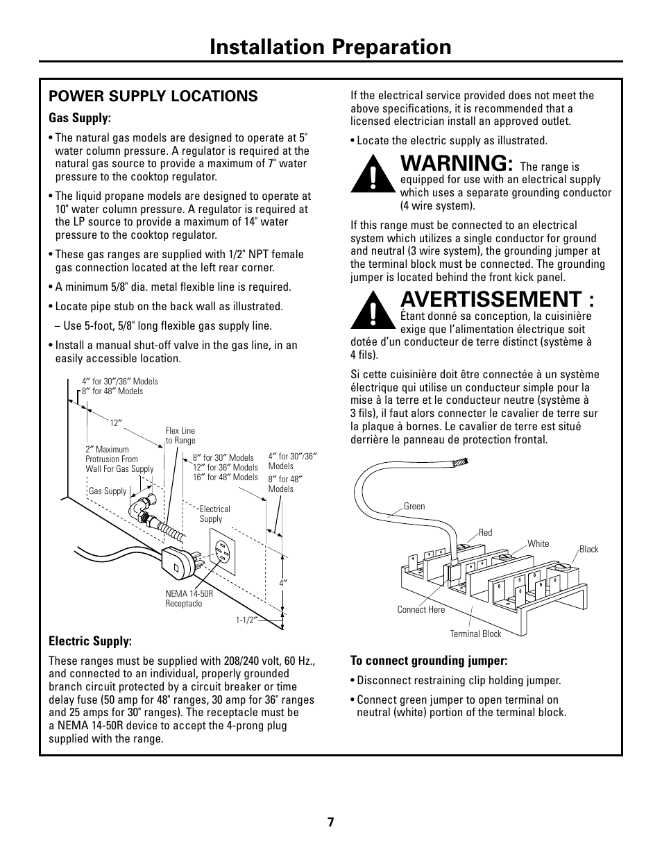 Power Supply Locations Warning Avertissement Manual Guide
