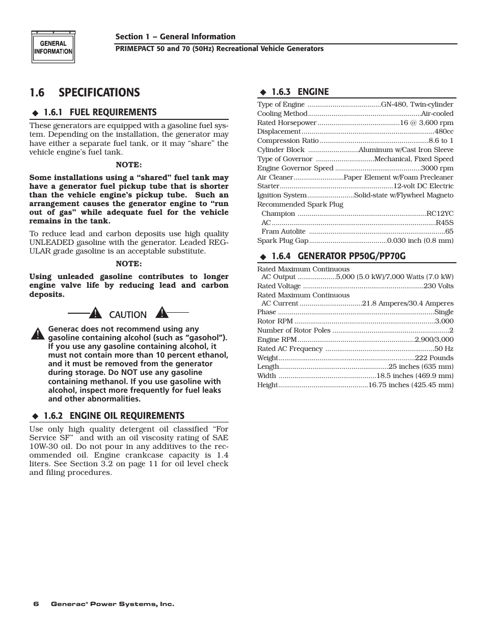 6 specifications | Generac 00784-2 User Manual | Page 8 / 52