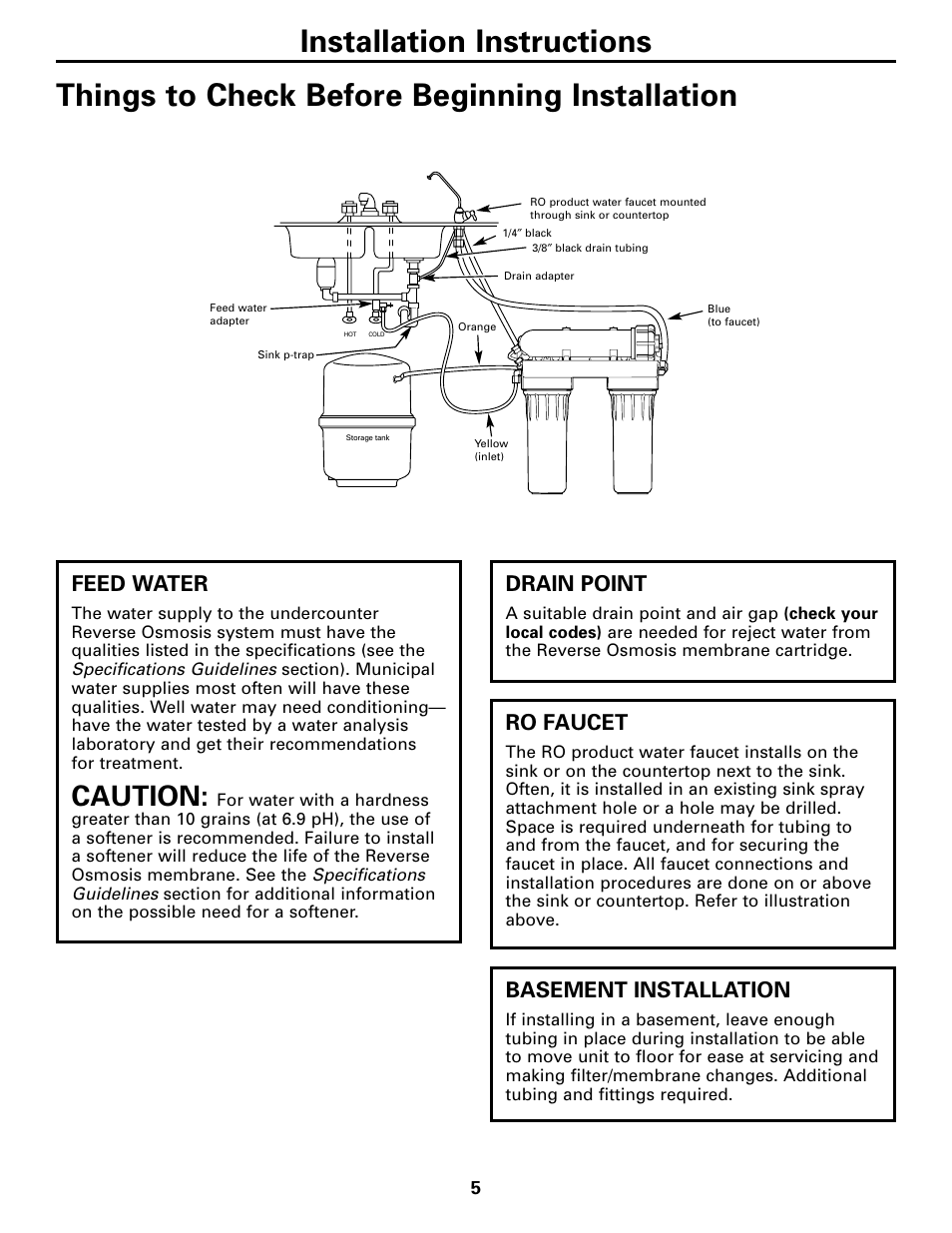 Things to check before installation, Caution, Feed water | GE GXRM10G User  Manual | Page 5 / 64