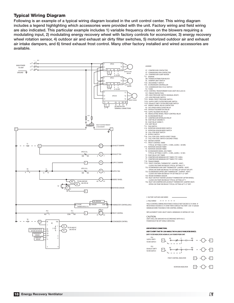Typical wiring diagram Energy recovery ventilator Greenheck Fan