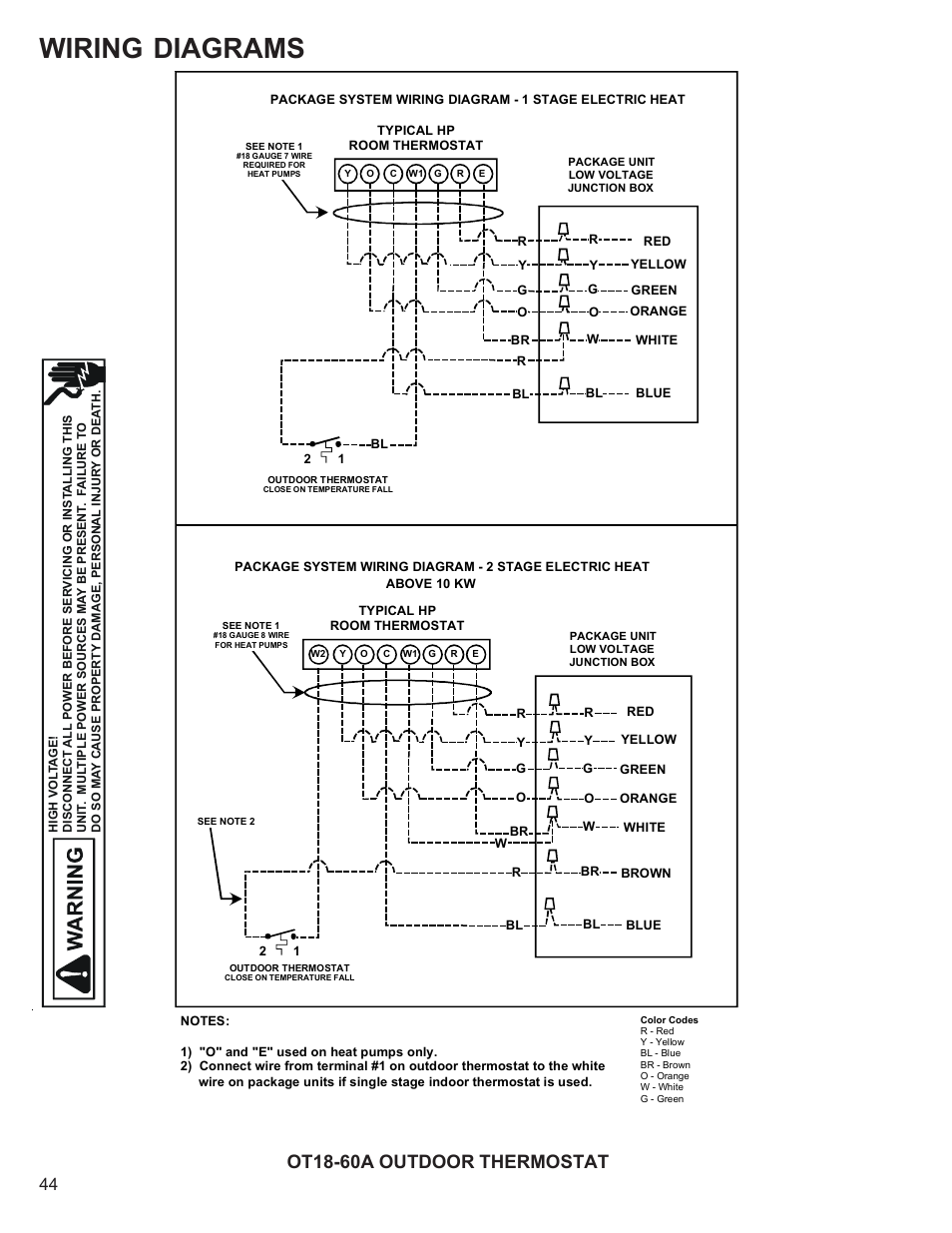 Wiring diagrams, Ot18-60a outdoor thermostat | Goodman Mfg R-410A User  Manual | Page 44 / 47