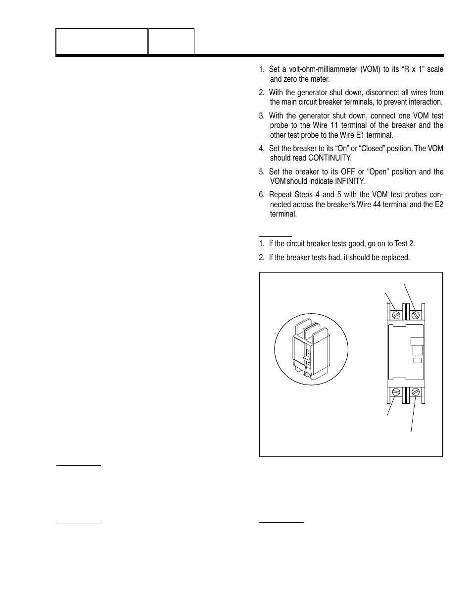 4 diagnostic tests, Introduction, Safety | Test 1 – check main circuit  breaker,