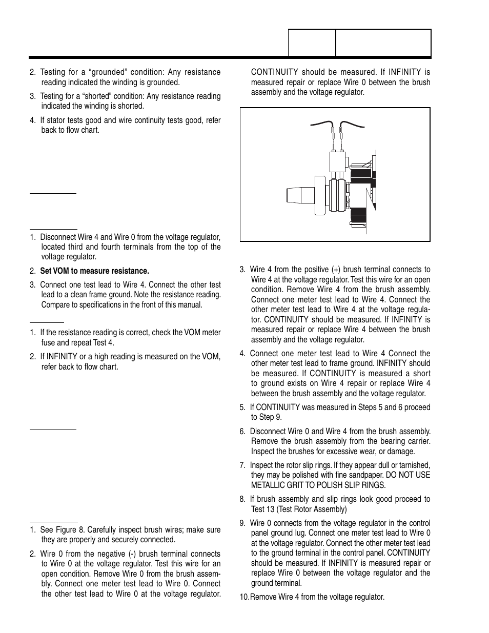 Test 12 Check Brushes And Slip Rings12 20 Kw Generac Power Generator Wiring Diagram Systems 8 Lp User Manual Page 50 192