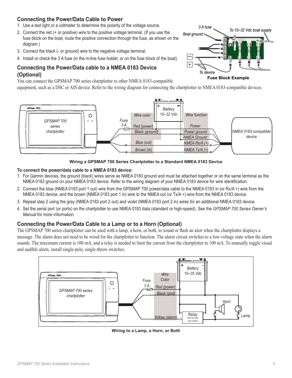Connecting the power/data cable to power | Garmin GPSMAP 740s User Manual |  Page 5 / 10