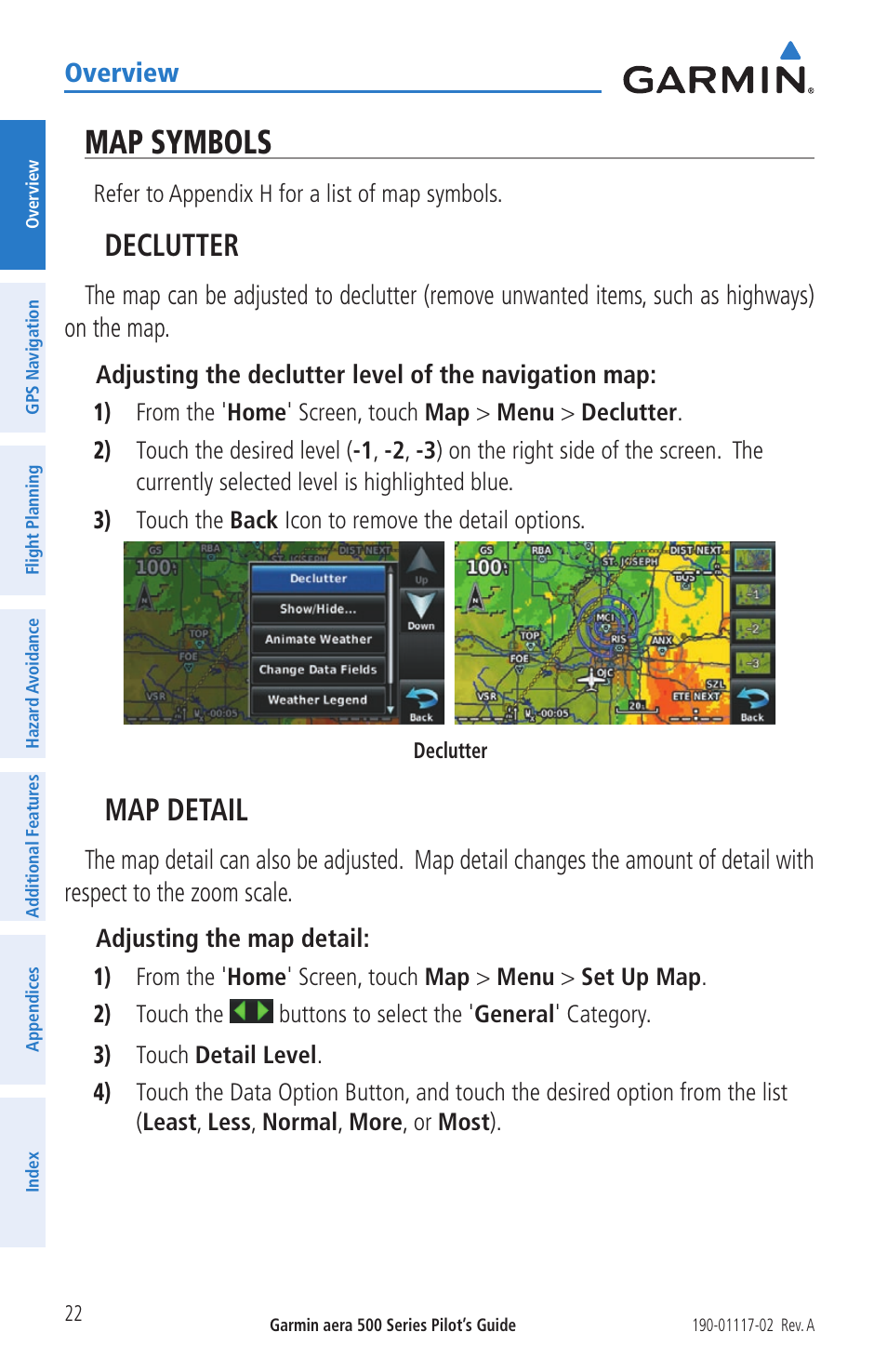 Map Symbols Declutter Map Detail Garmin Aera 500 User Manual