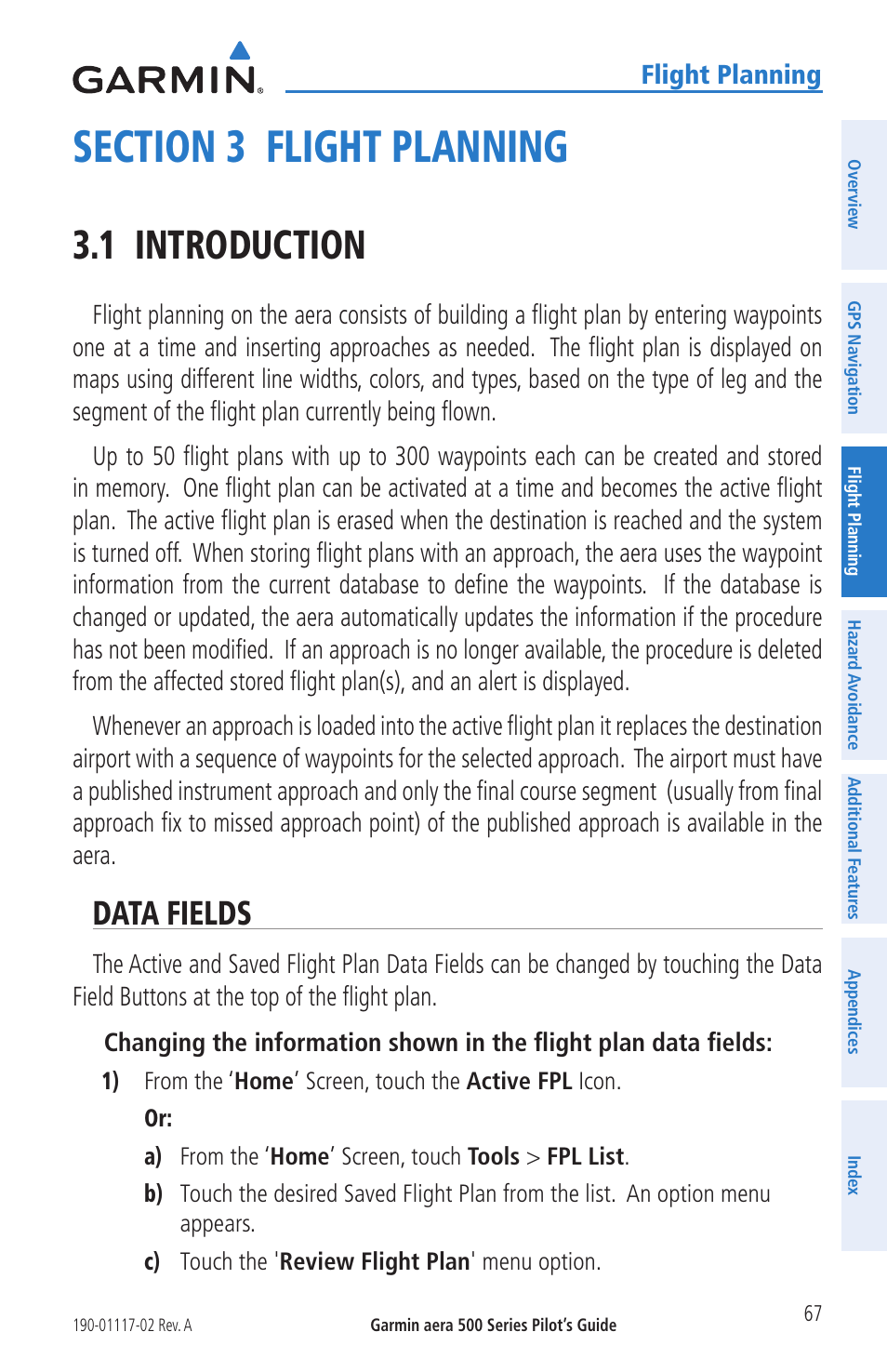 Section 3 flight planning, 1 introduction, Data fields