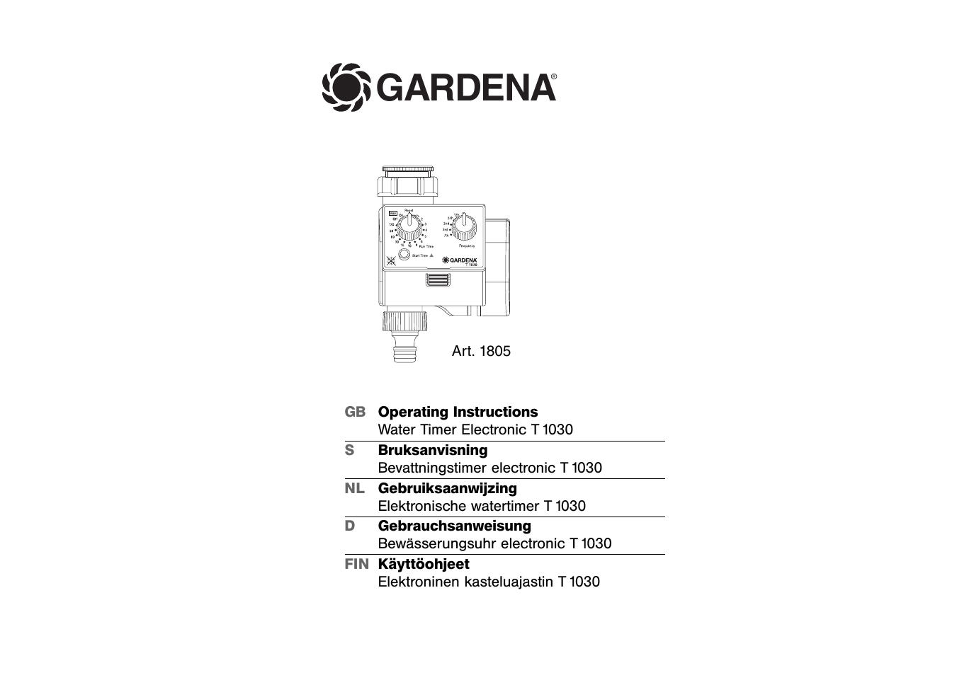 gardena water timer electronic t 1030 user manual 11 pages. Black Bedroom Furniture Sets. Home Design Ideas