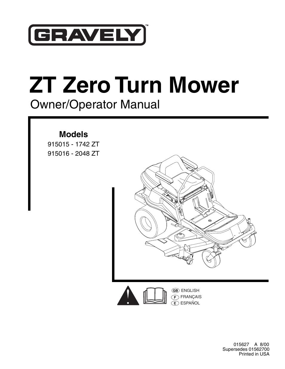 gravely zero turn mower manual