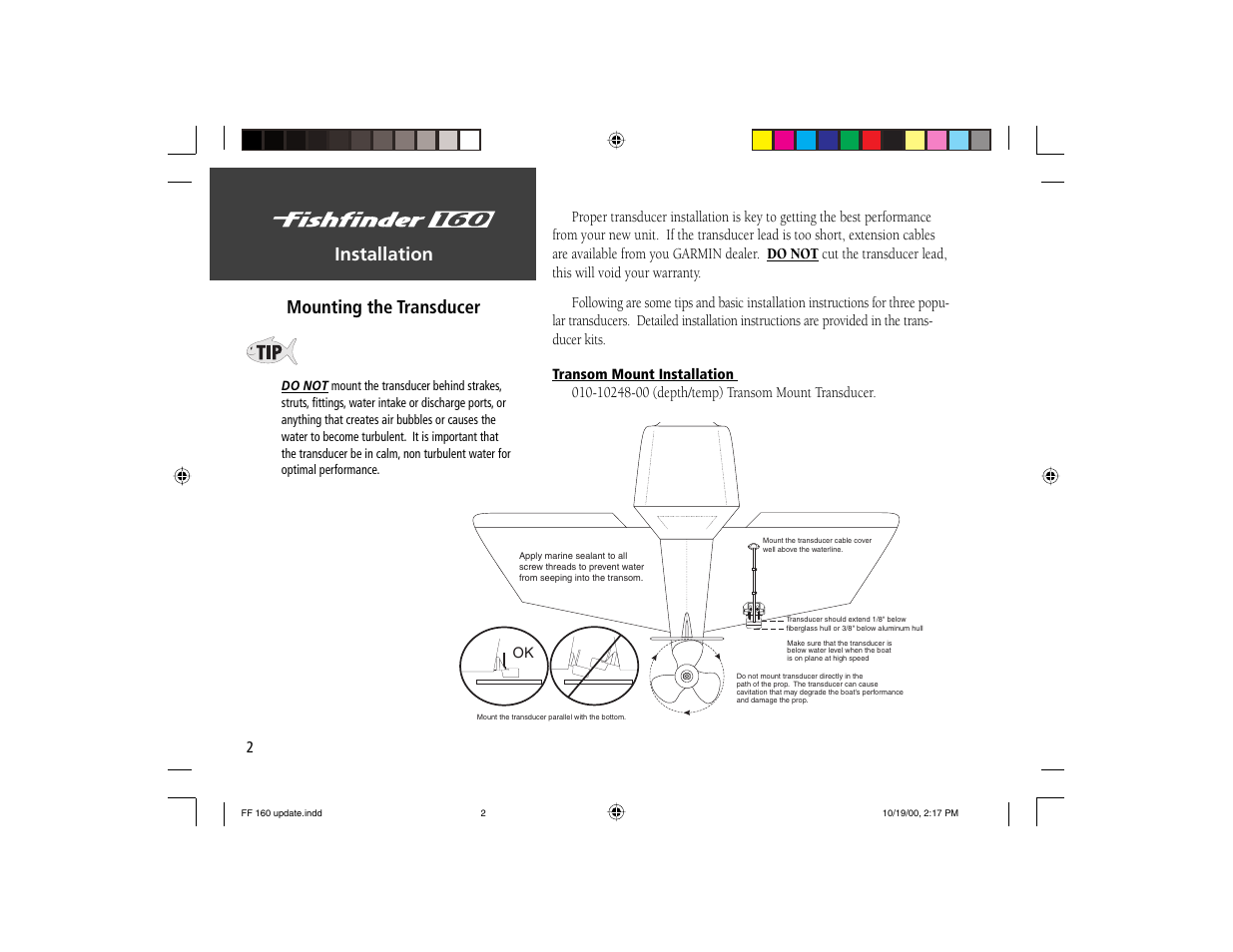 Installation mounting the transducer | Garmin 160 User Manual | Page 10 / 50