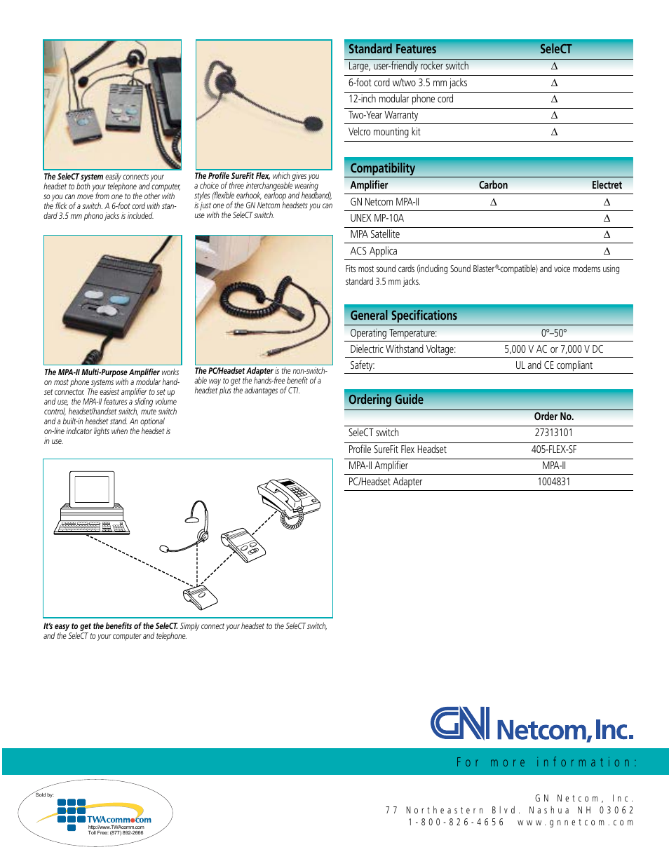 Compatibility, Standard features select, Ordering guide | GN Netcom  ONE-CLICK COMPUTER-TELEPHONY SWITCH User Manual | Page 2 / 2