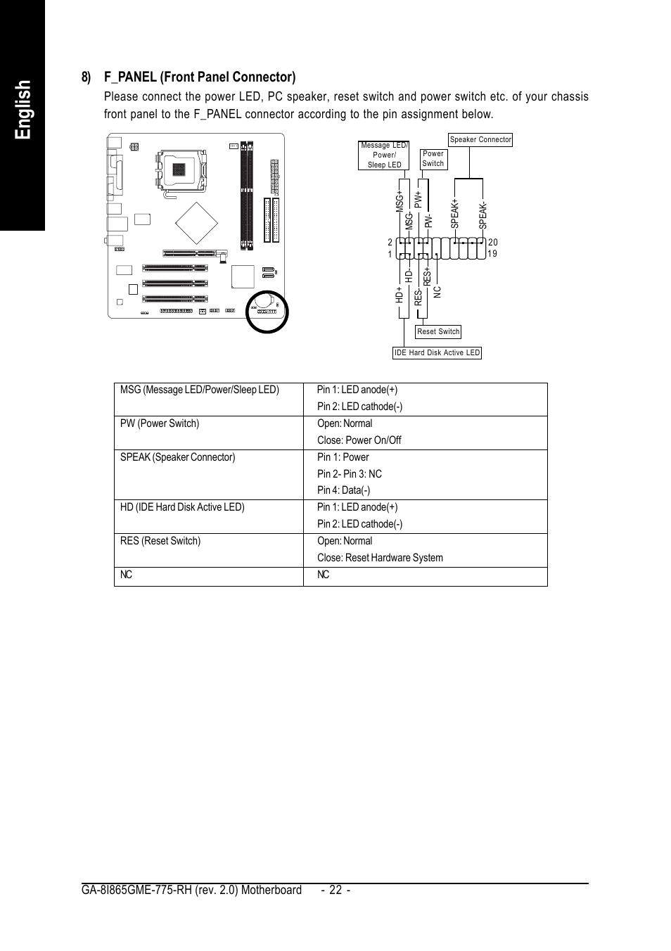 English, 8) f_panel (front panel connector) | GIGABYTE GA-8I865GME