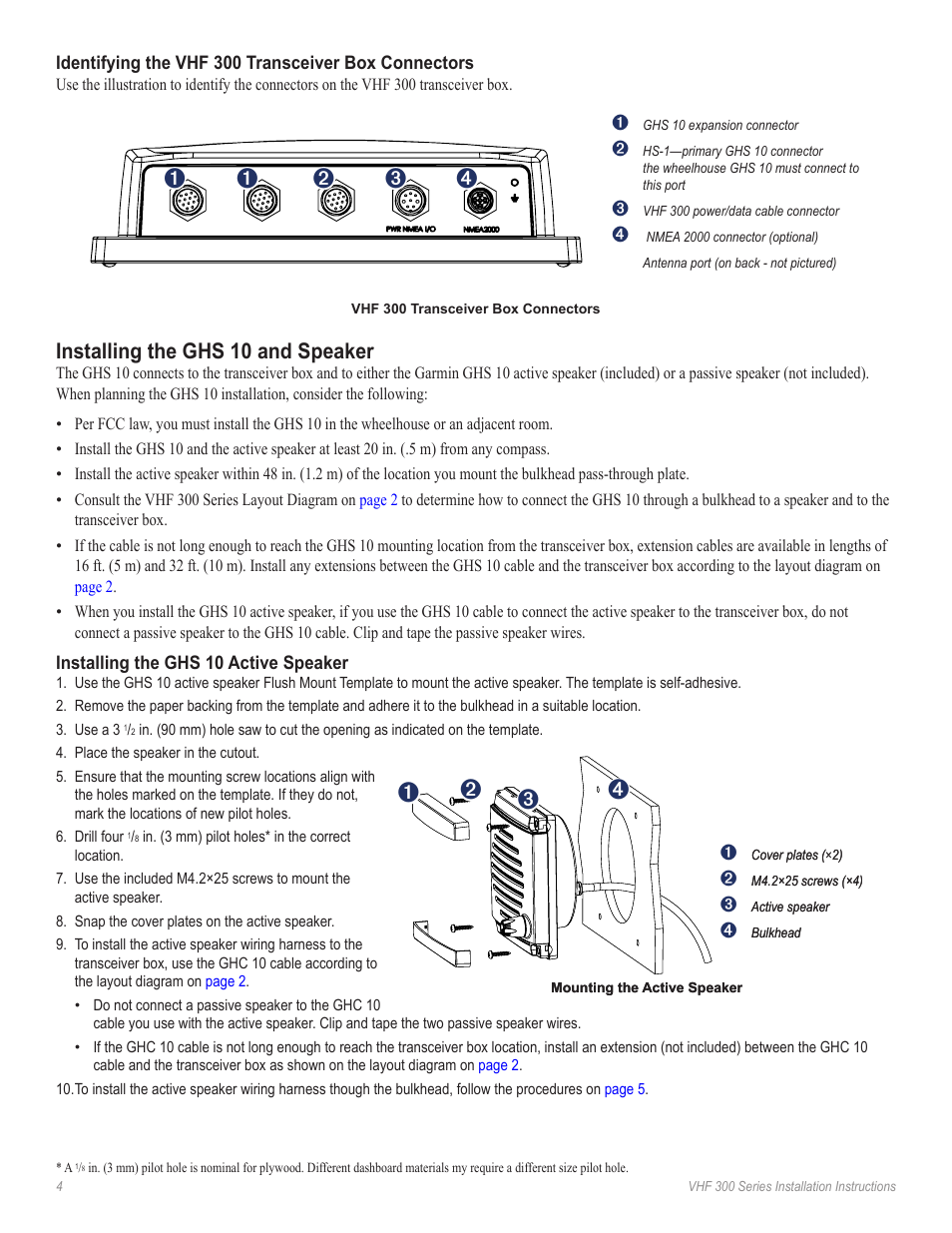 Red on, Installing the ghs 10 and speaker | Garmin VHF GHS 10i User Manual  | Page 4 / 12