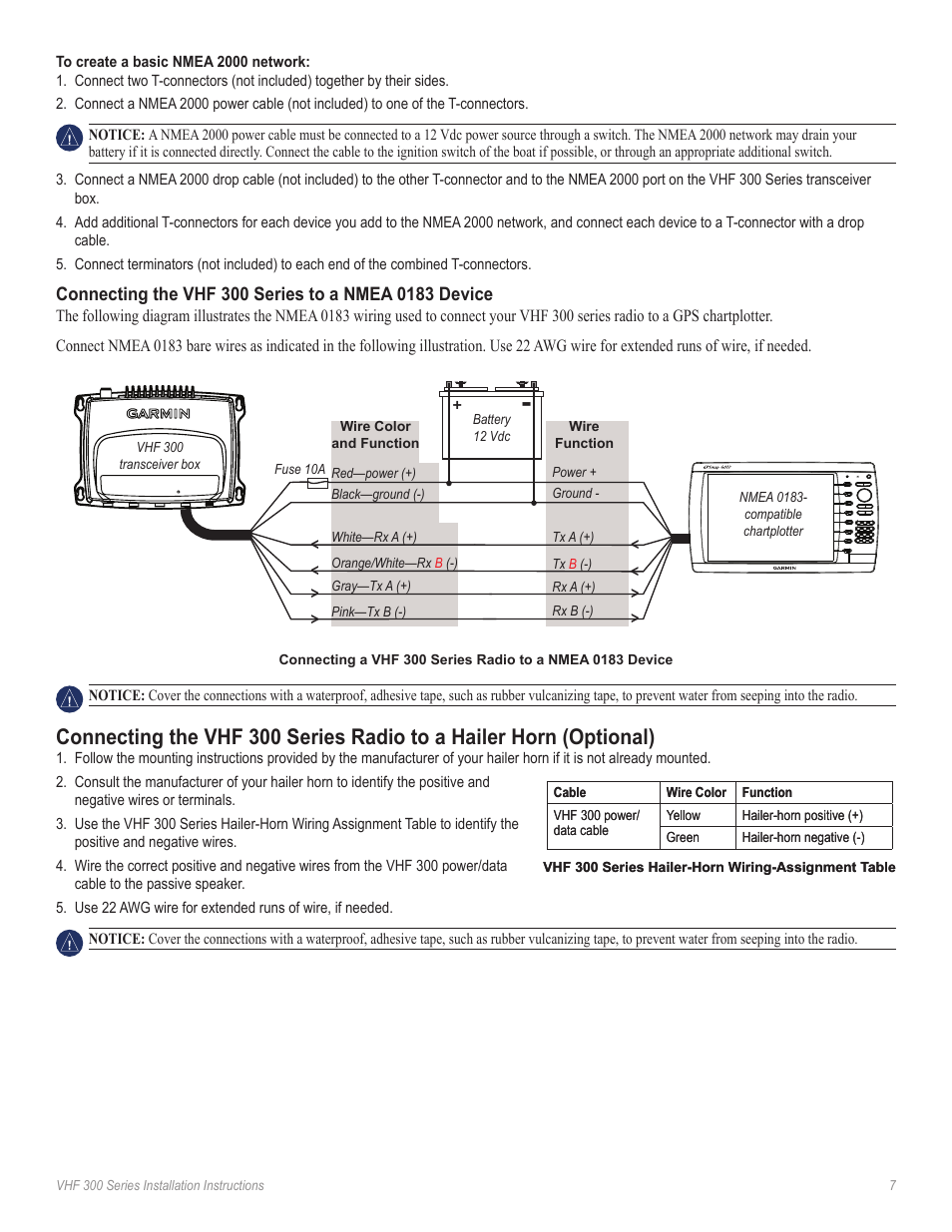 Connecting The Radio To A Hailer Horn Garmin Vhf Ghs 10i User Nmea Gps 0183 Wiring Diagram Manual Page 7 12