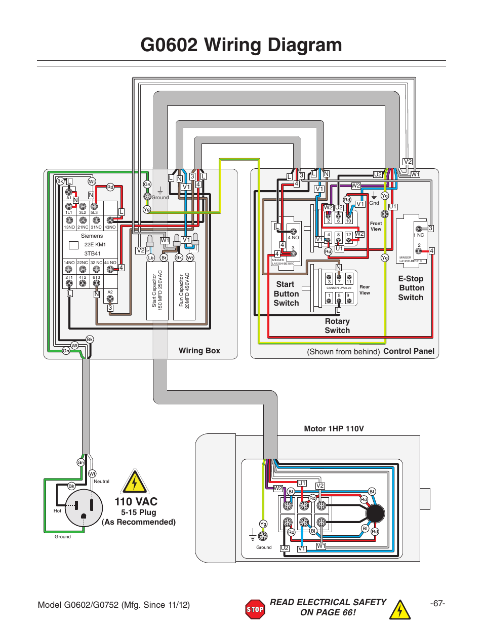 "G0602 wiring diagram, 110 vac, Motor 1hp 110v | Grizzly 10"" x 22"" Benchtop  Lathe G0602 User Manual 