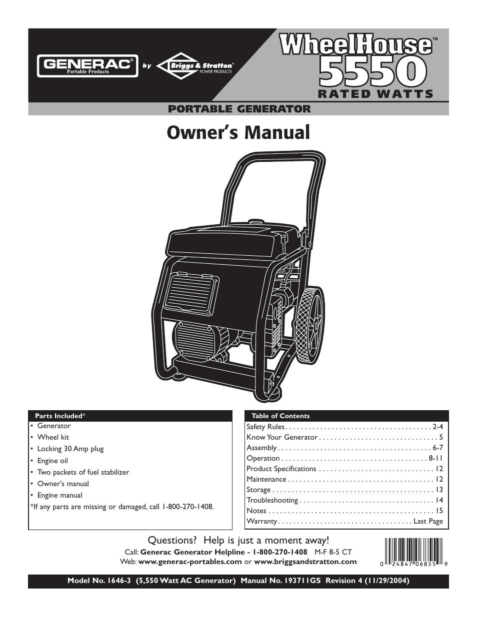 generac wheelhouse 1646 3 user manual 16 pages rh manualsdir com generac generator manual transfer switch 22 kw generac generator manual
