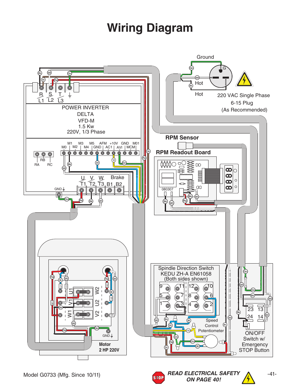 grizzly 18 x 47 wood lathe g0733 page43 wiring diagram, rpm sensor rpm readout board grizzly 18\