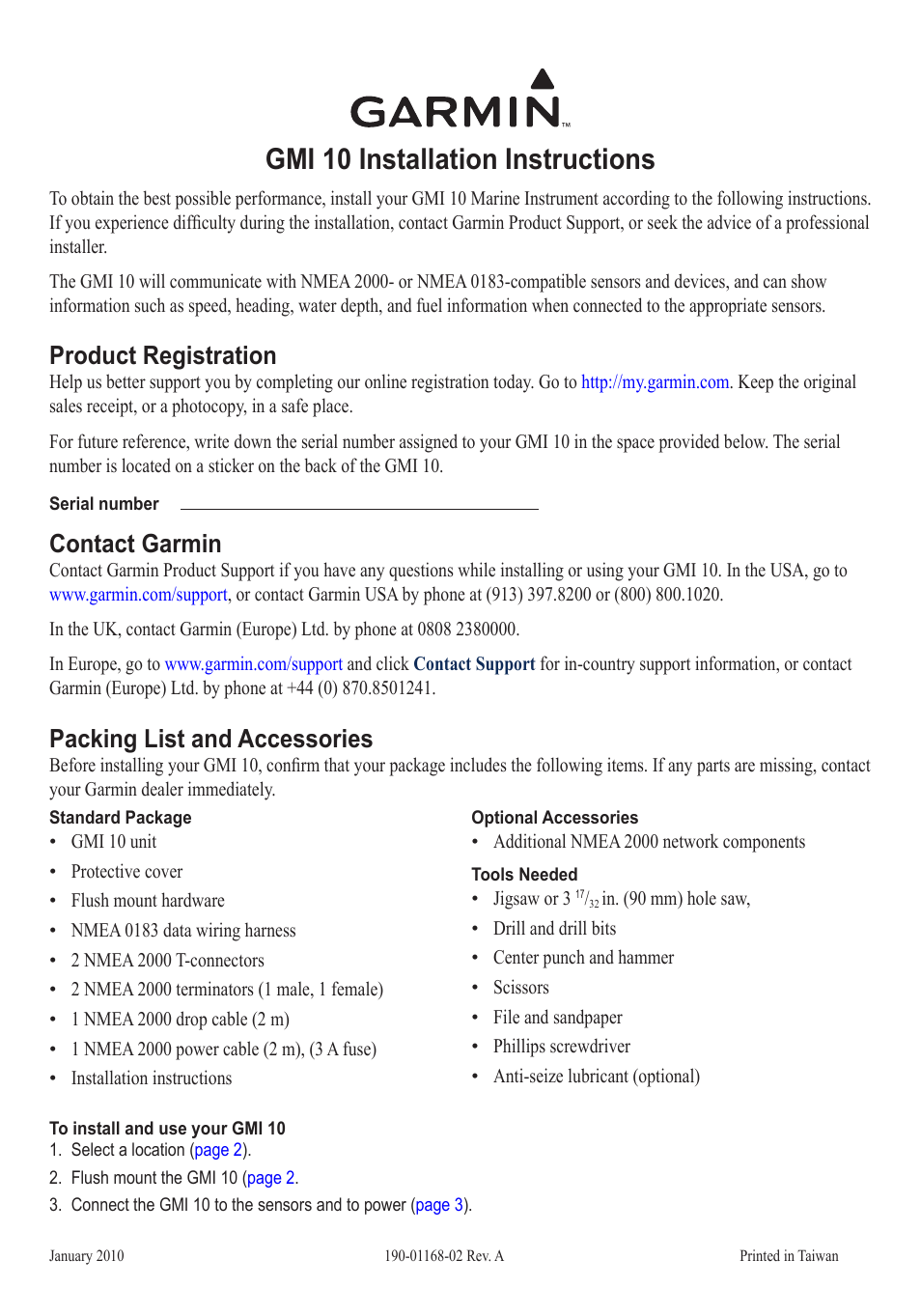 Garmin GMI 10 User Manual | 8 pages | Also for: 190-01168-02