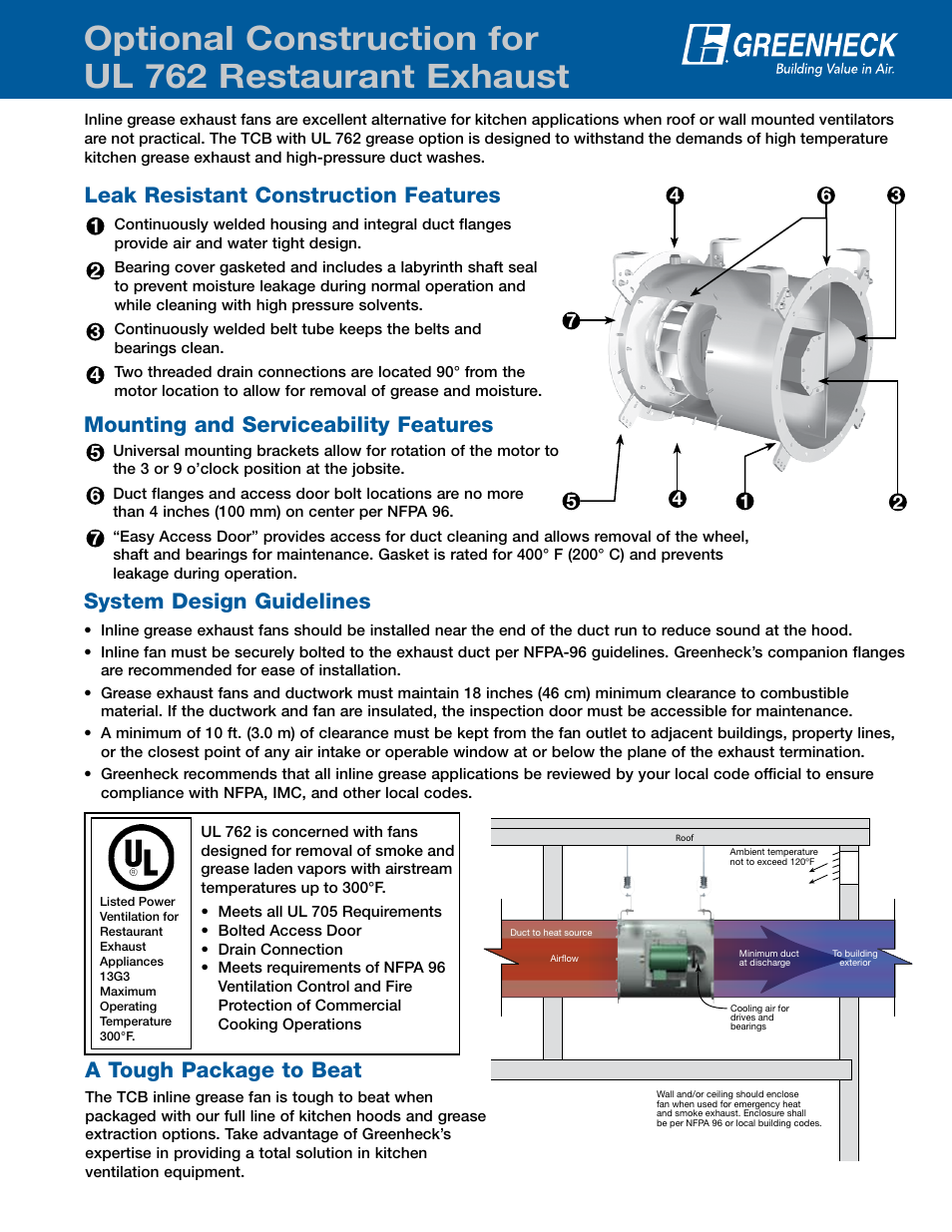 Greenheck Fan Ul 762 User Manual 1 Page