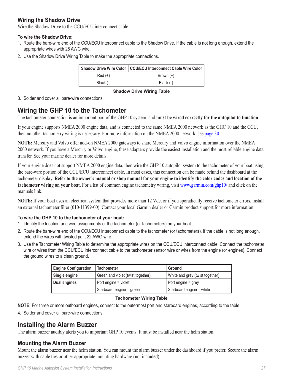 Wiring the shadow drive, Wiring the ghp 10 to the tachometer, Installing  the alarm buzzer | Garmin GHP 10 User Manual | Page 27 / 48