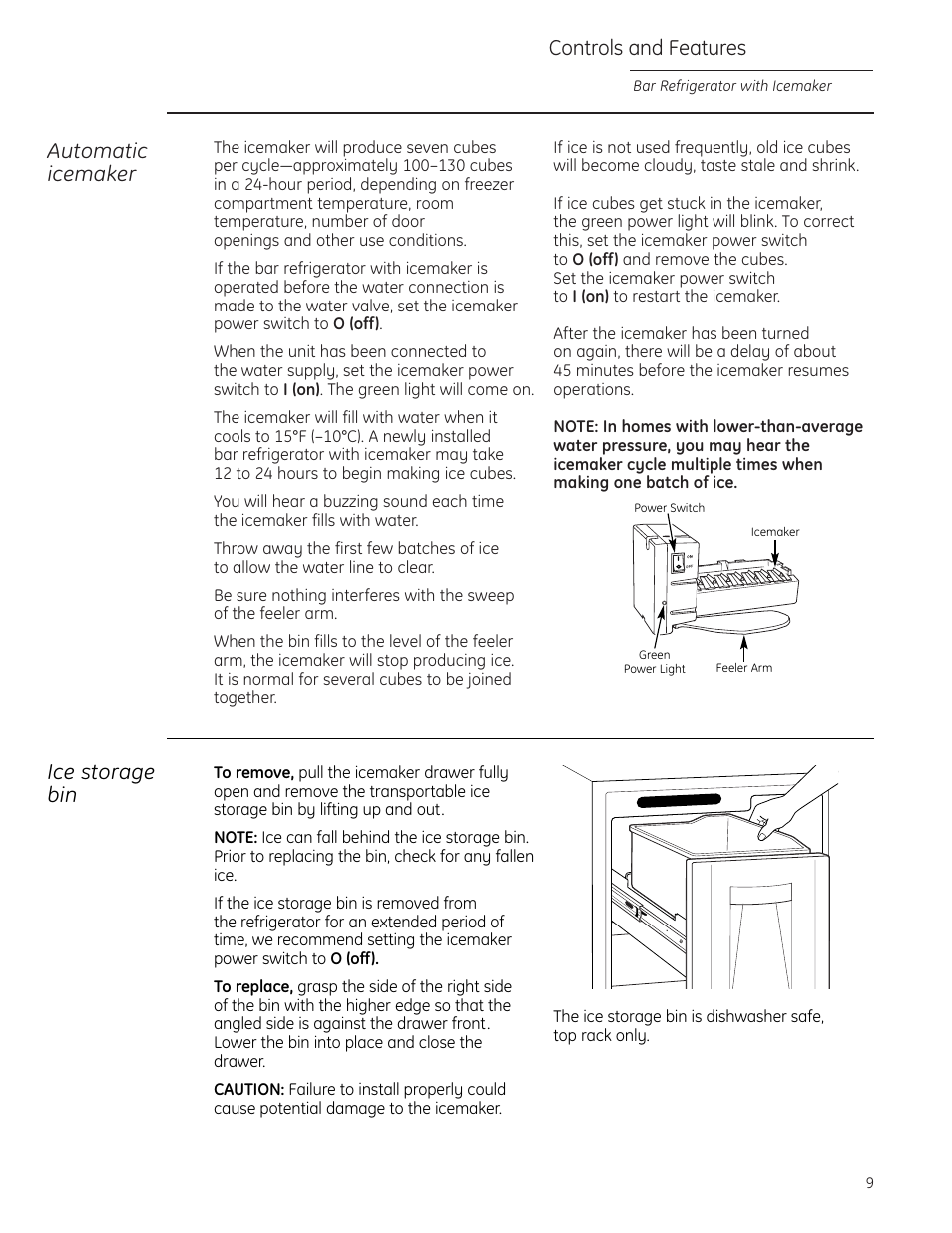Controls and features, Automatic icemaker, Ice storage bin | GE Monogram  ZIBS240PSS User Manual