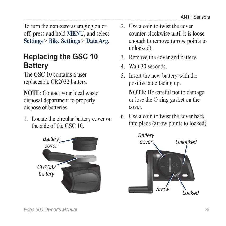 Replacing the gsc 10 battery, Replacing the gsc 10, Battery | Garmin