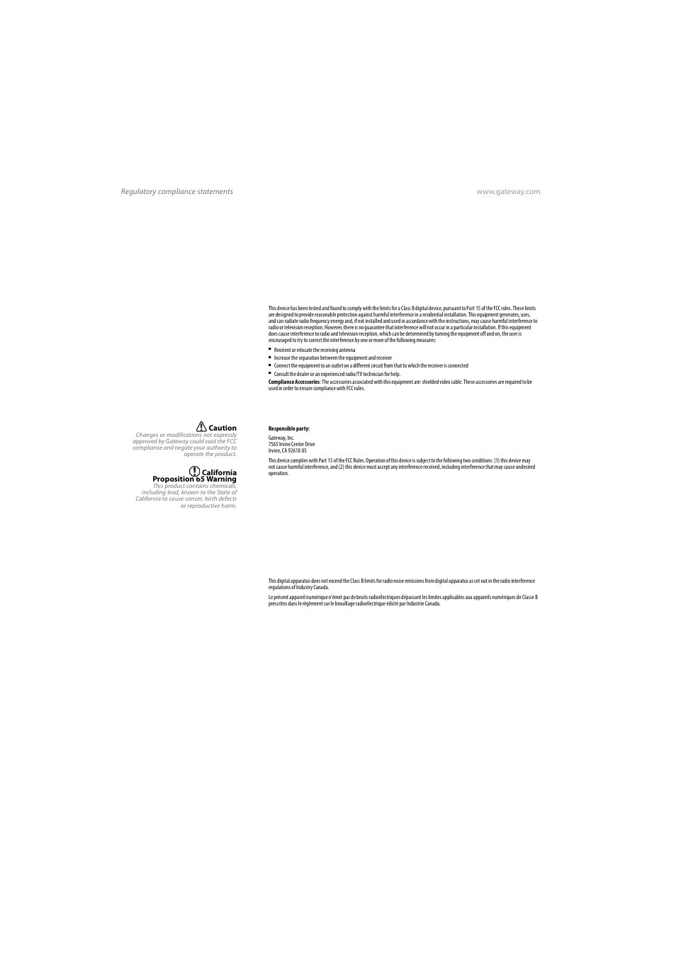 Regulatory compliance statements, United states of america, Canada |  Gateway VX765 User Manual |