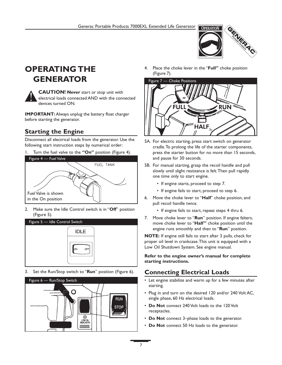 Operating The Generator Starting Engine Connecting Electrical 120 Volt Wiring Diagram Loads Generac 7000exl User Manual Page 7 24