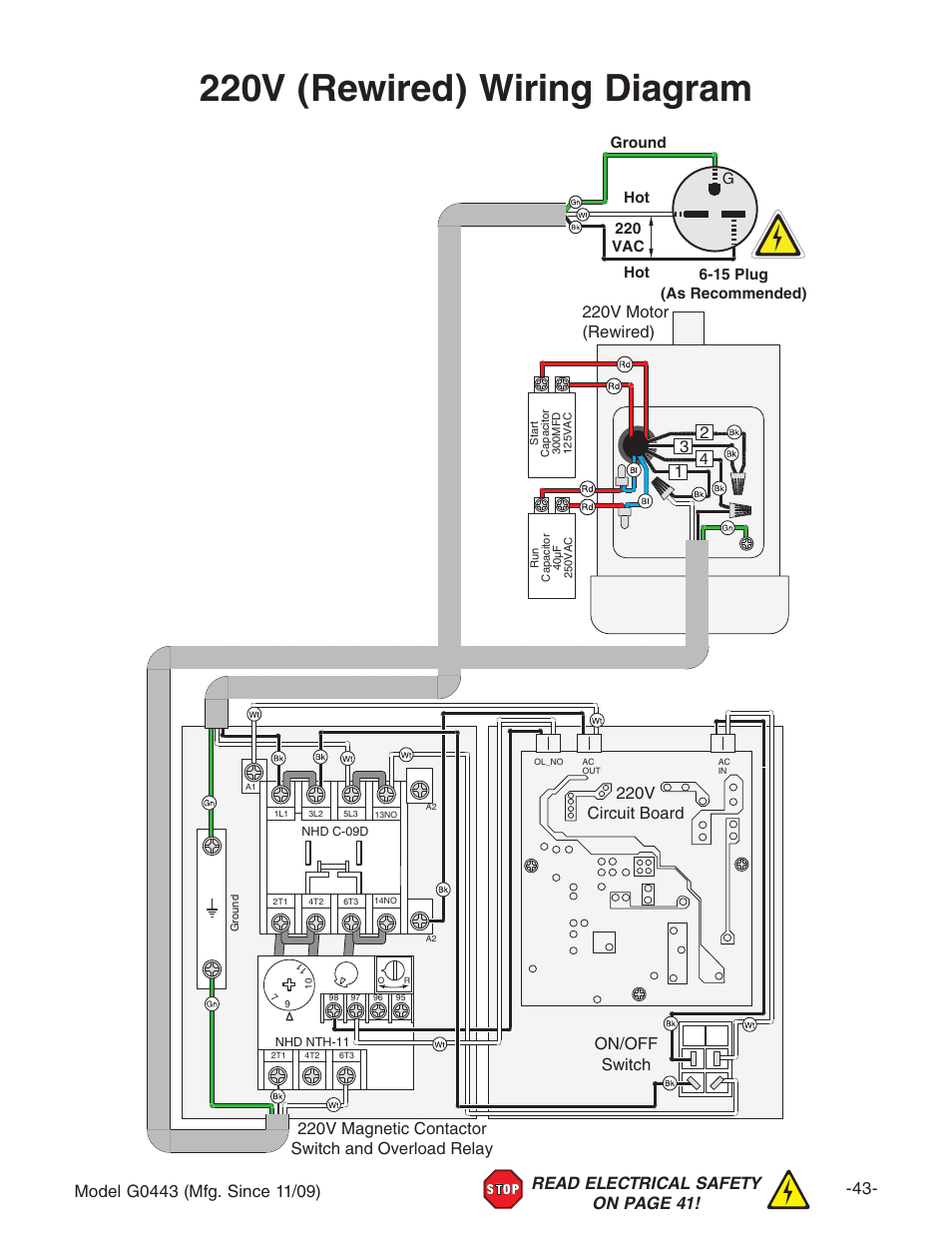 220v Rewired Wiring Diagram On Off Switch Grizzly G0440 User 220 Vac Manual
