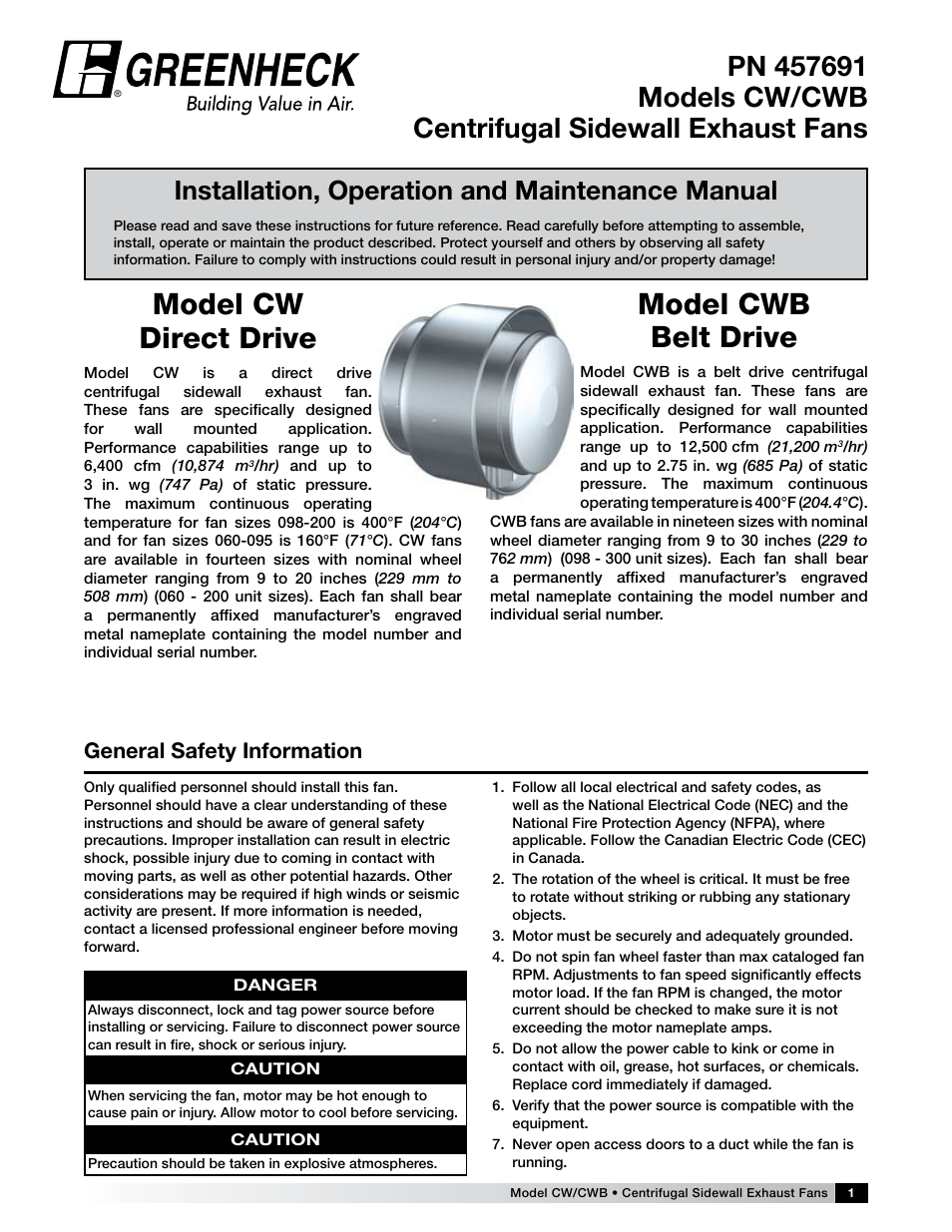 Greenheck Fan Centrifugal Sidewall Exhaust Fans CWCWB User Manual