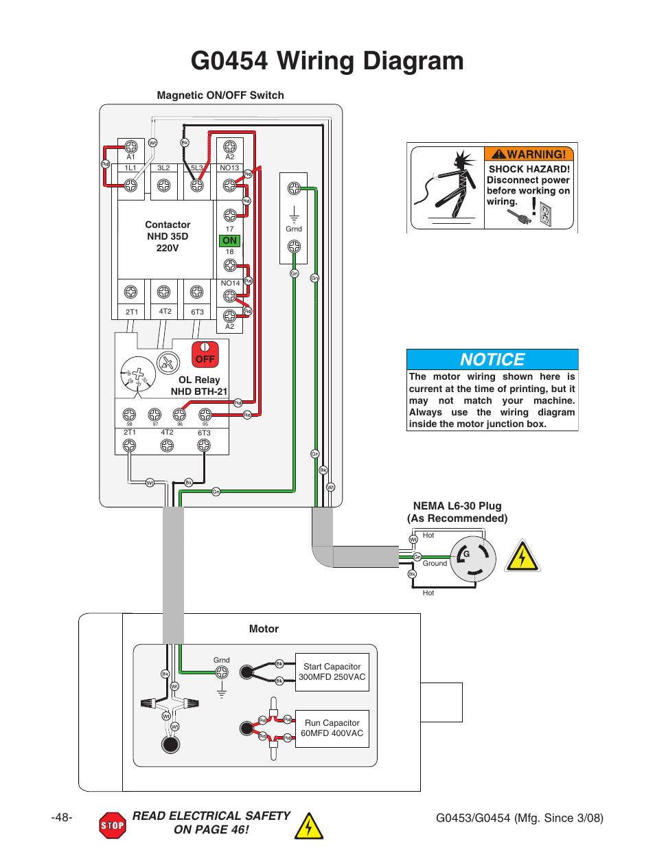 G0454 wiring diagram, Wiring diagram g0545 | Grizzly MOBILE PLANERS G0453  User Manual | Page 50 / 72