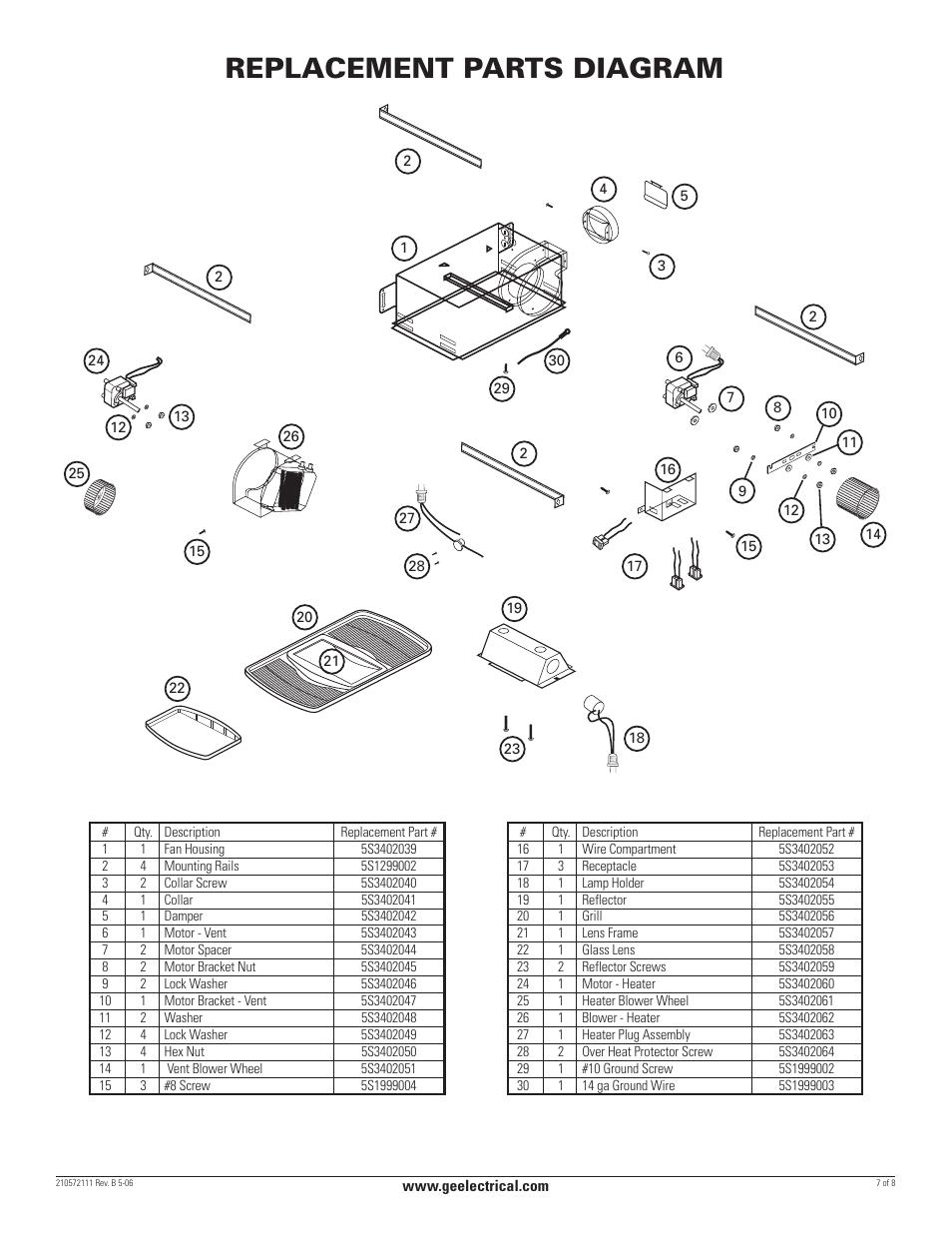 Replacement parts diagram | GE BFLH70L User Manual | Page 7 / 8