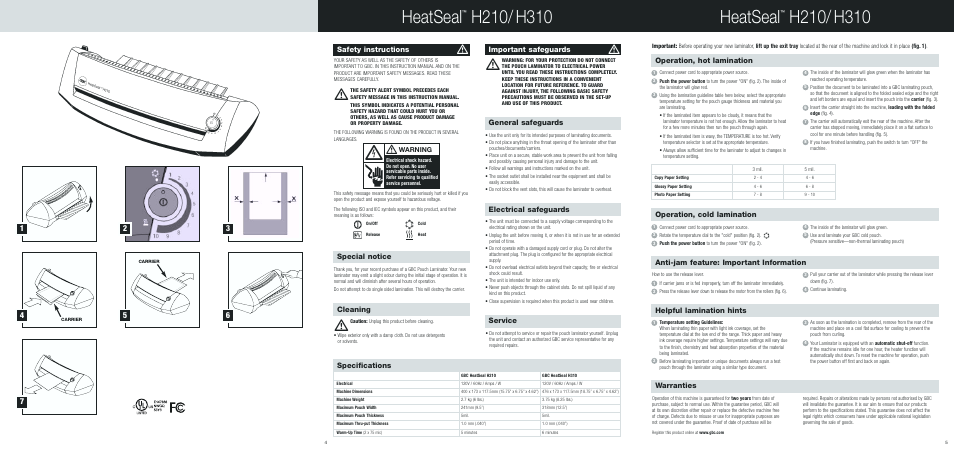 Heatseal, electrical safeguards, service | gbc h310 user manual.