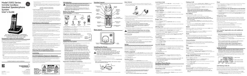 ge 5 8 ghz manual various owner manual guide u2022 rh justk co GE Wireless Phones GE 5.8Ghz Cordless Phone