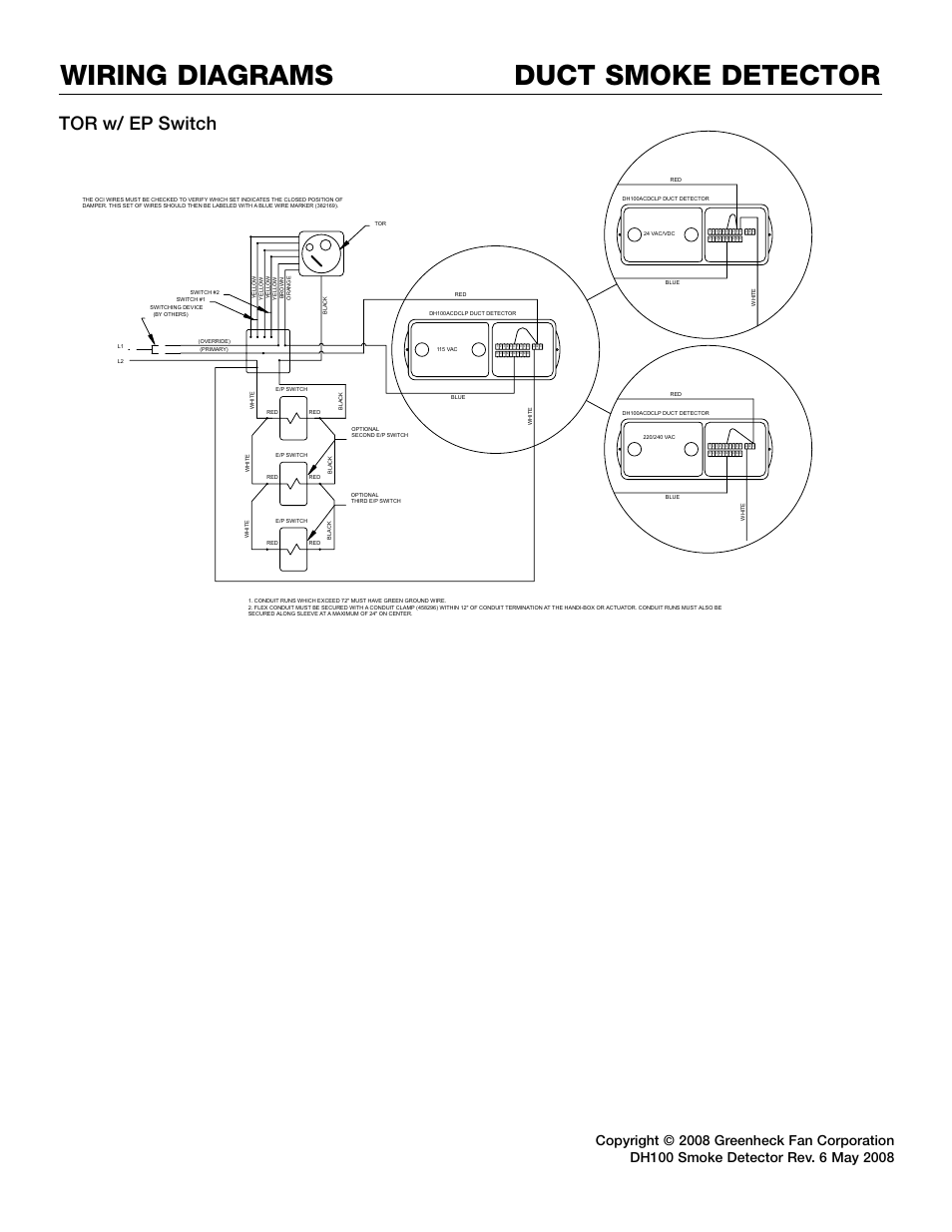 Duct smoke detector wiring diagrams, Tor w/ ep switch | Greenheck Fan  DH100ACDCLP User