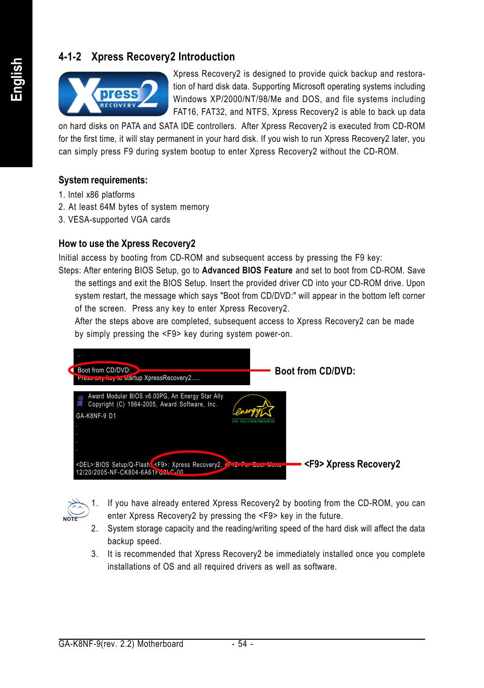 English, 1-2 xpress recovery2 introduction | GIGABYTE GA