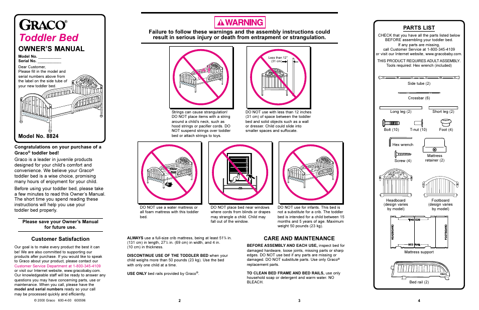 Graco 8824 User Manual 4 Pages