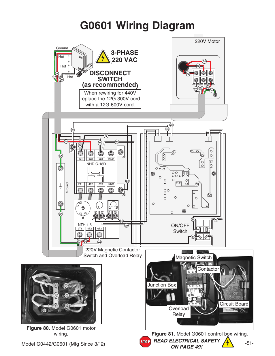 G0601 Wiring Diagram Disconnect Switch As Recommended 3 Phase 220 220v Motor Vac Grizzly G0442 User Manual Page 53 60