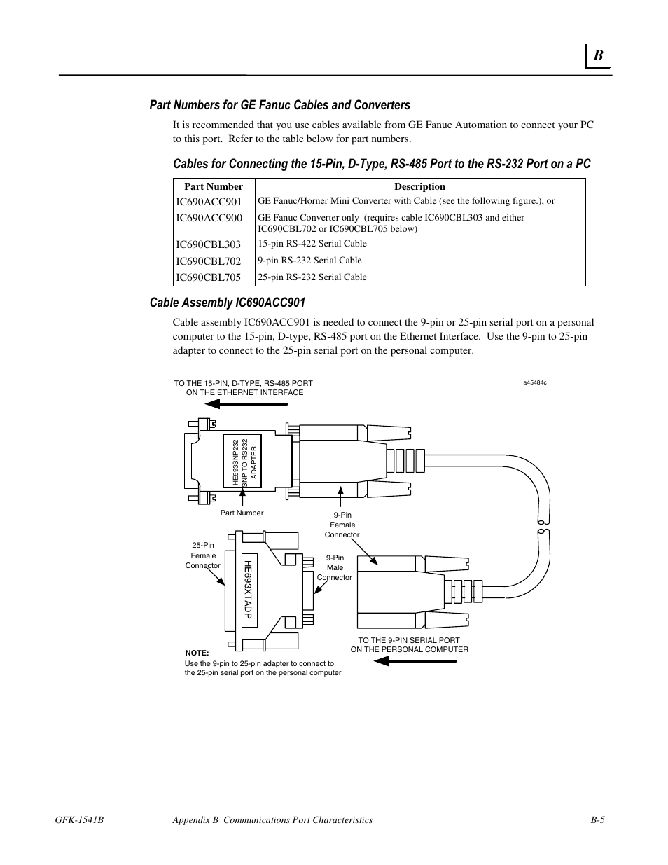 Part Numbers For Ge Fanuc Cables And Converters Gfk 1541b User 232 To 485 Wiring Diagram Serial Connector Manual Page 206 240