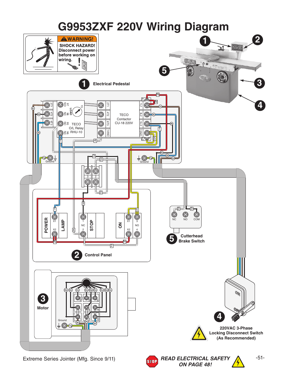Grizzly Extreme Series Jointer G9953zxf User Manual Page 53 76 Wiring 220v Disconnect Switch Also For G9860