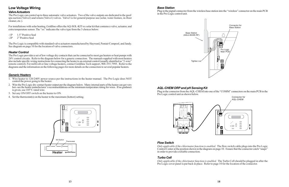 Low voltage wiring, Heater | Goldline LOGIC PL-P-4 User Manual ... on