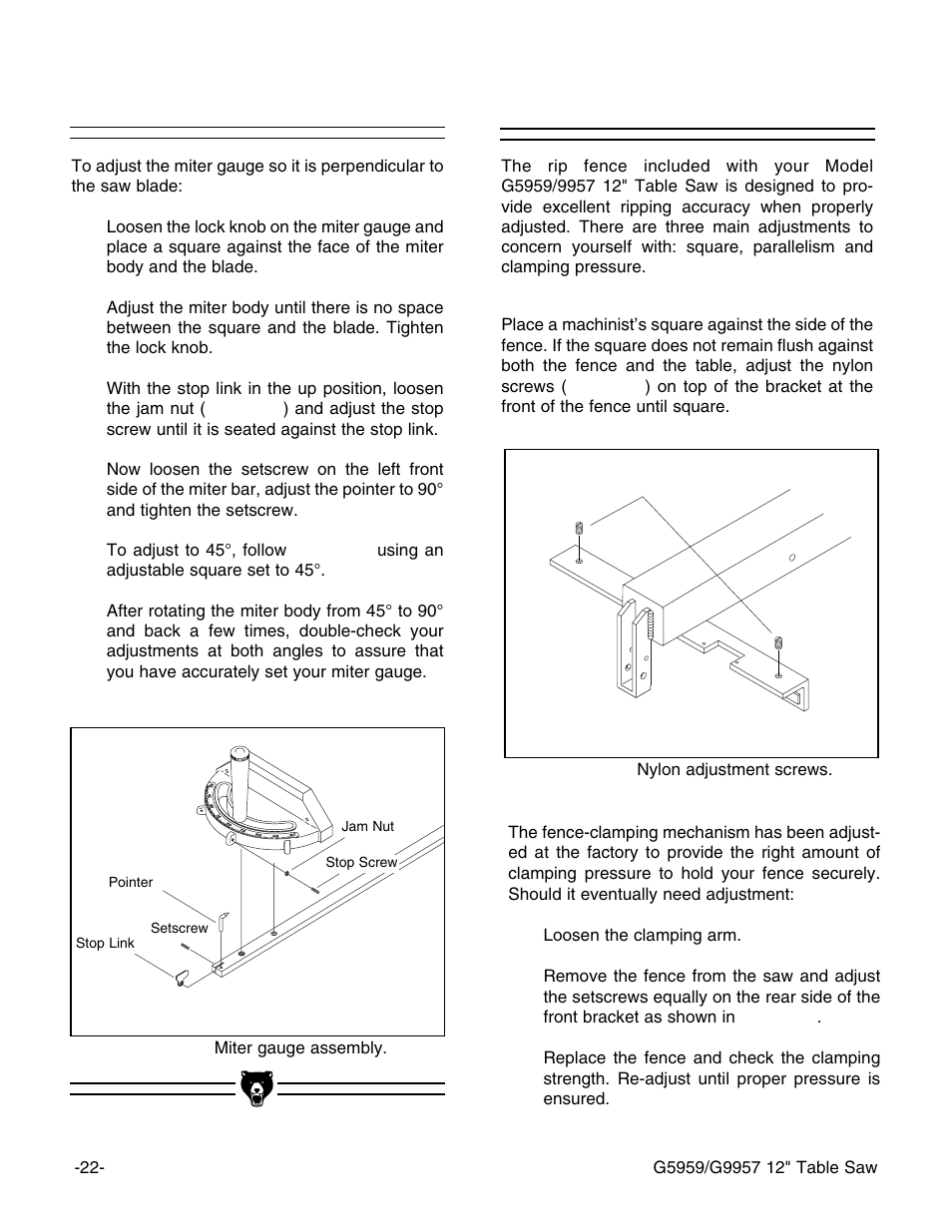 Rip Fence Miter Gauge Grizzly G5959 User Manual Page 24 52 Diagram 1 Black Is In Check 2 Double