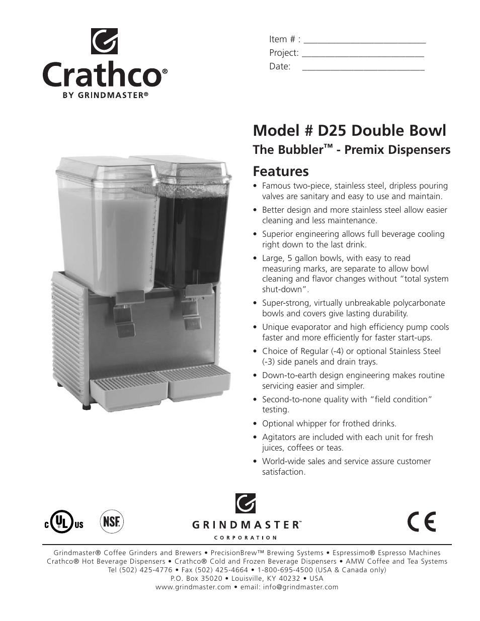 Grindmaster The BubblerTM - Premix Dispensers D25 Double Bowl User Manual |  2 pages